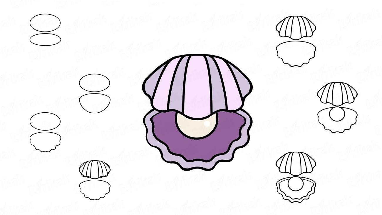 How to draw a pearl in a shell (+ coloring)