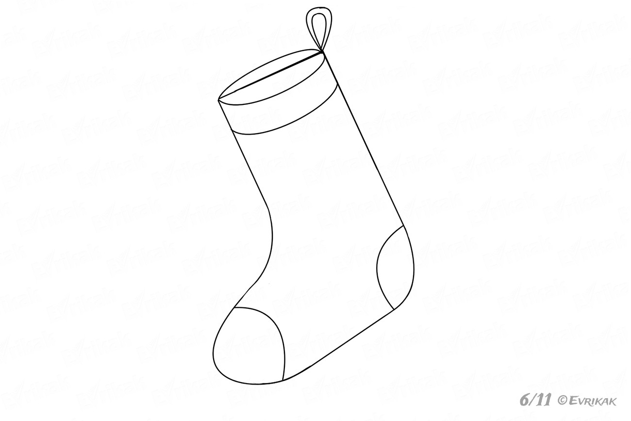learn how to draw a christmas stocking  the volume of the upper sock s part