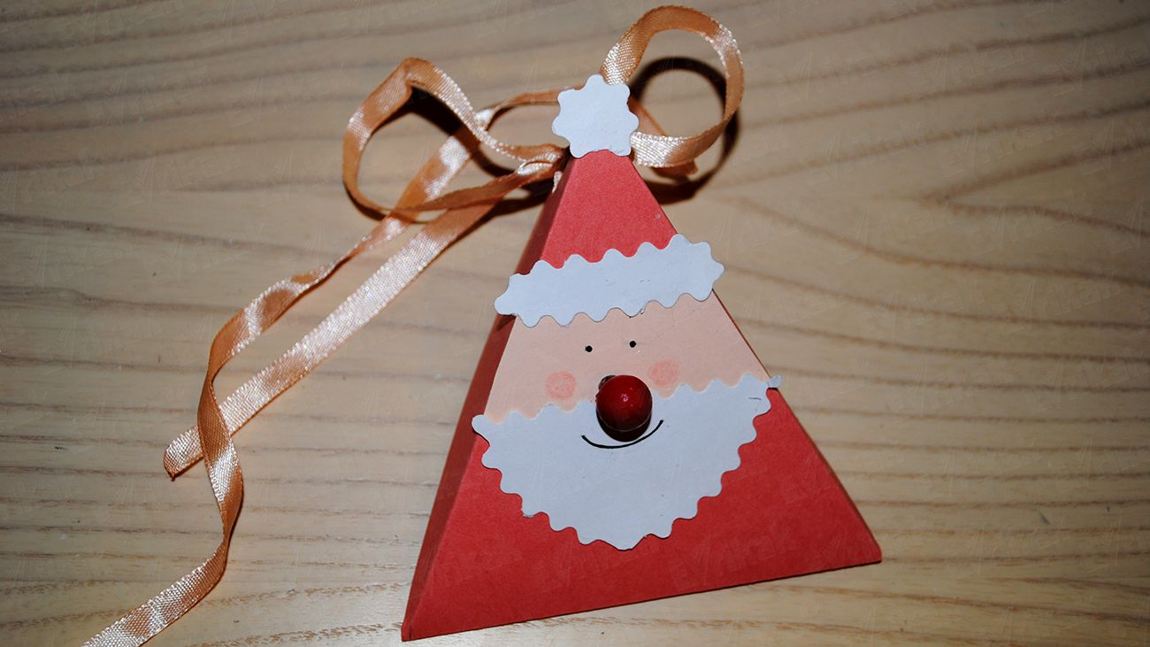 How to make a gift box Santa Claus from a cardboard (step by step instruction with photos)