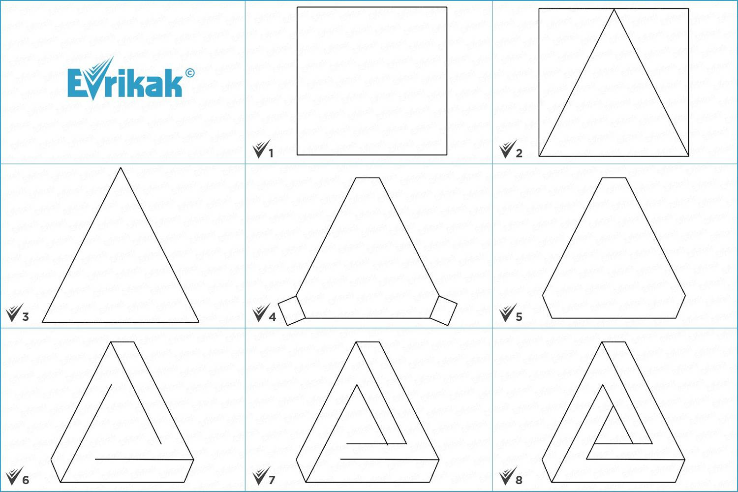 Collage of the stages of the 3D triangle drawing