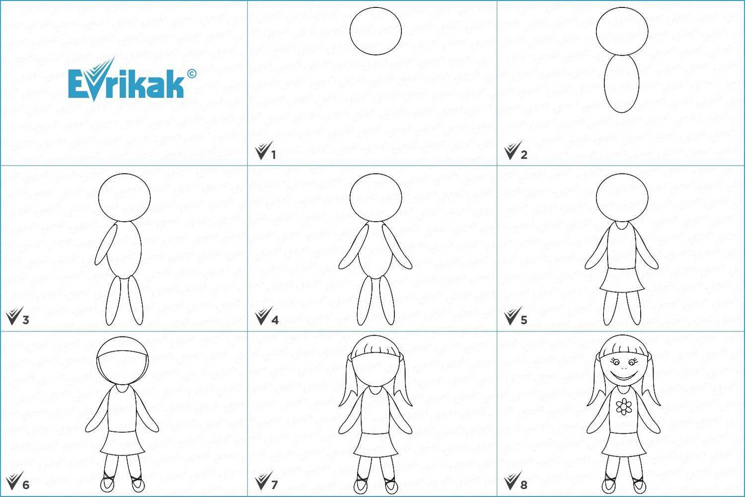 Collage of the stages of a doll drawing