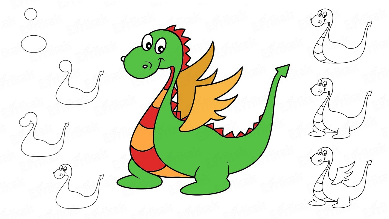 Learn to draw a dragon step by step (+ coloring)