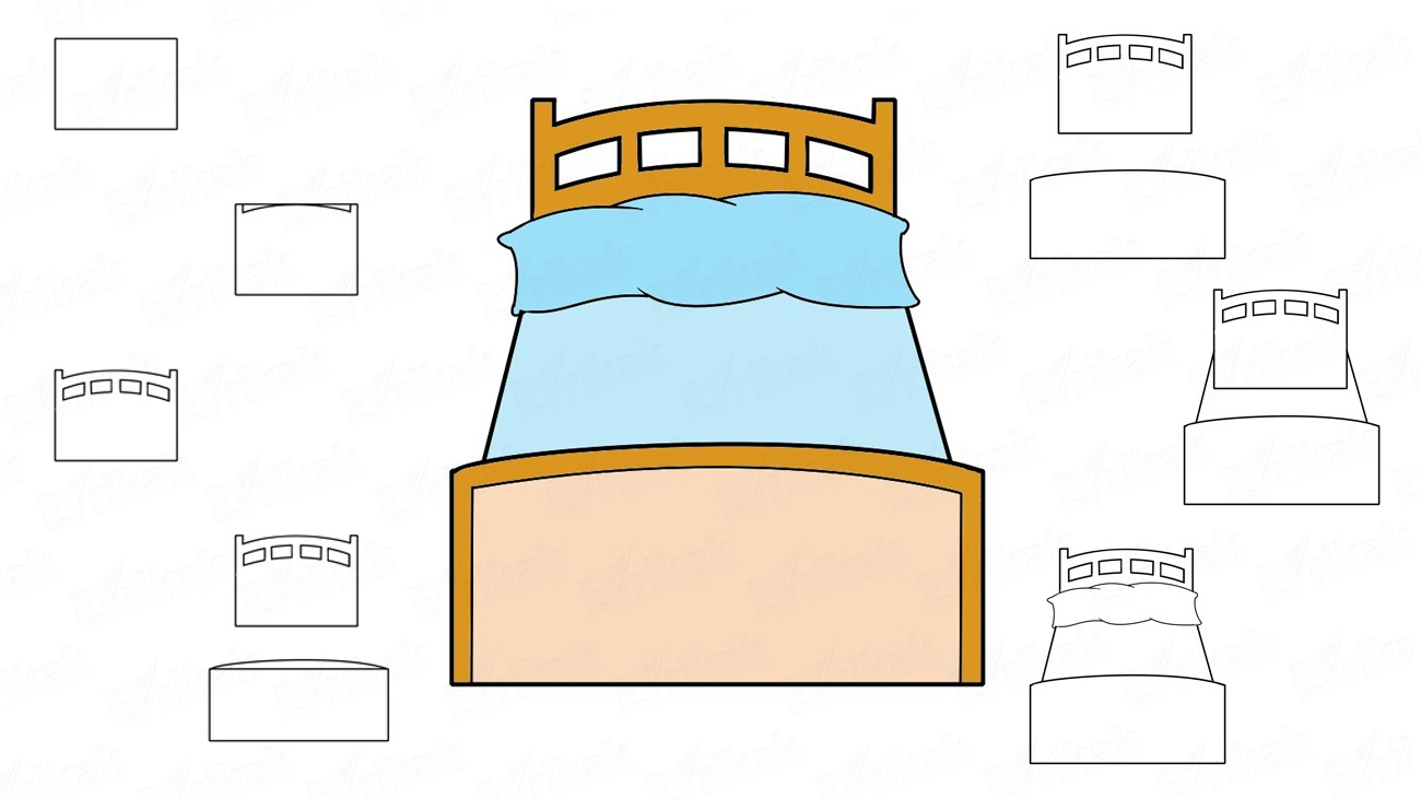 How to draw a bed step by step (+ coloring)