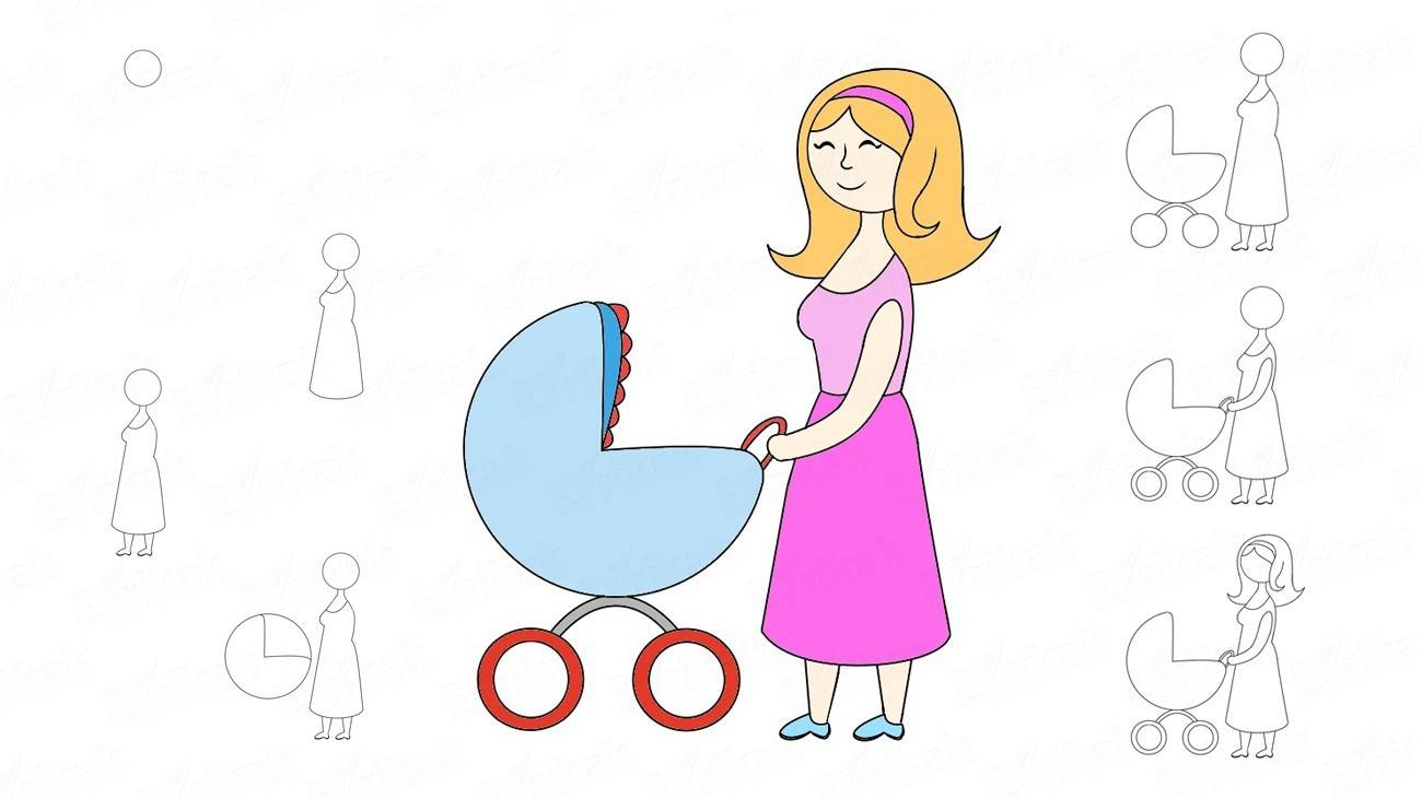 How to draw a mother with a perambulator (+ coloring)