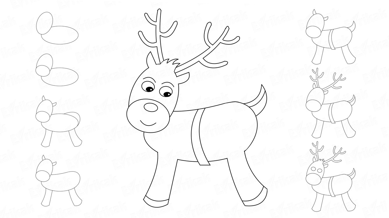 How to draw a Christmas reindeer for children (+coloring)