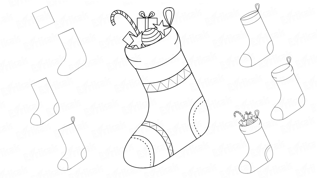 How to draw a Christmas sock (+ coloring)