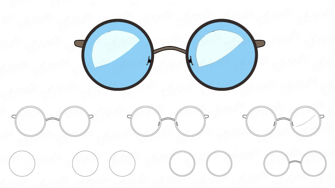 How to draw the eyeglasses in a frame (+ coloring)