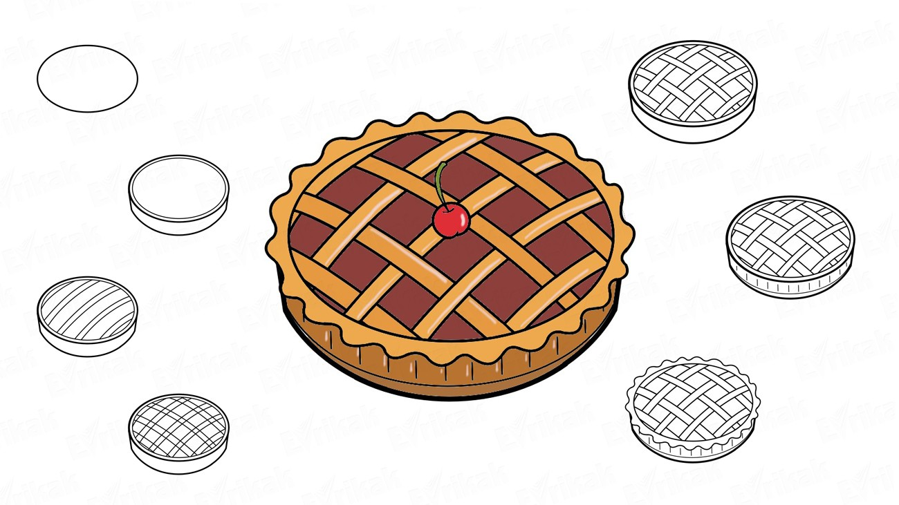 How to draw a cherry pie (+ coloring)