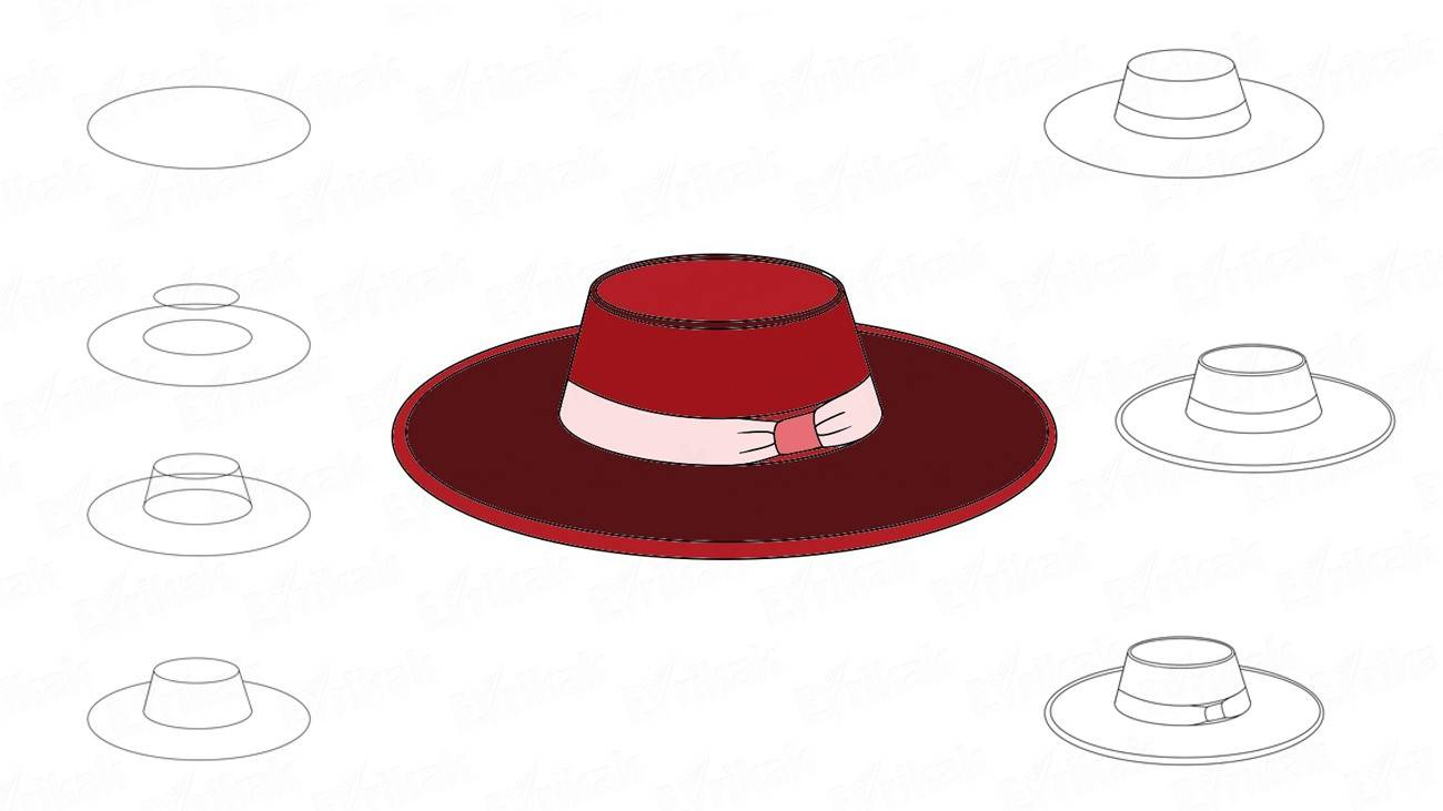 How to draw a lady's hat (+ coloring)