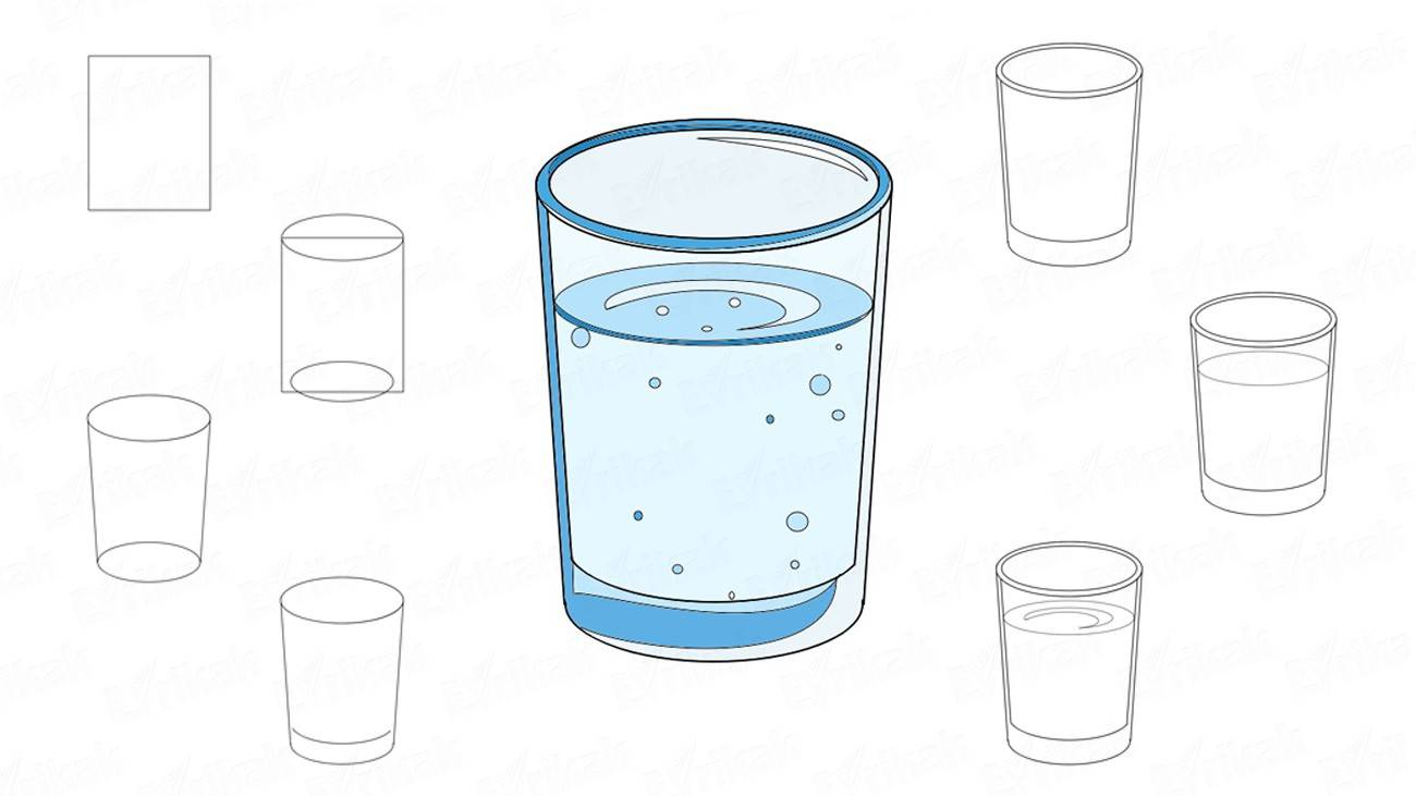 How to draw a glass with water (+ coloring)