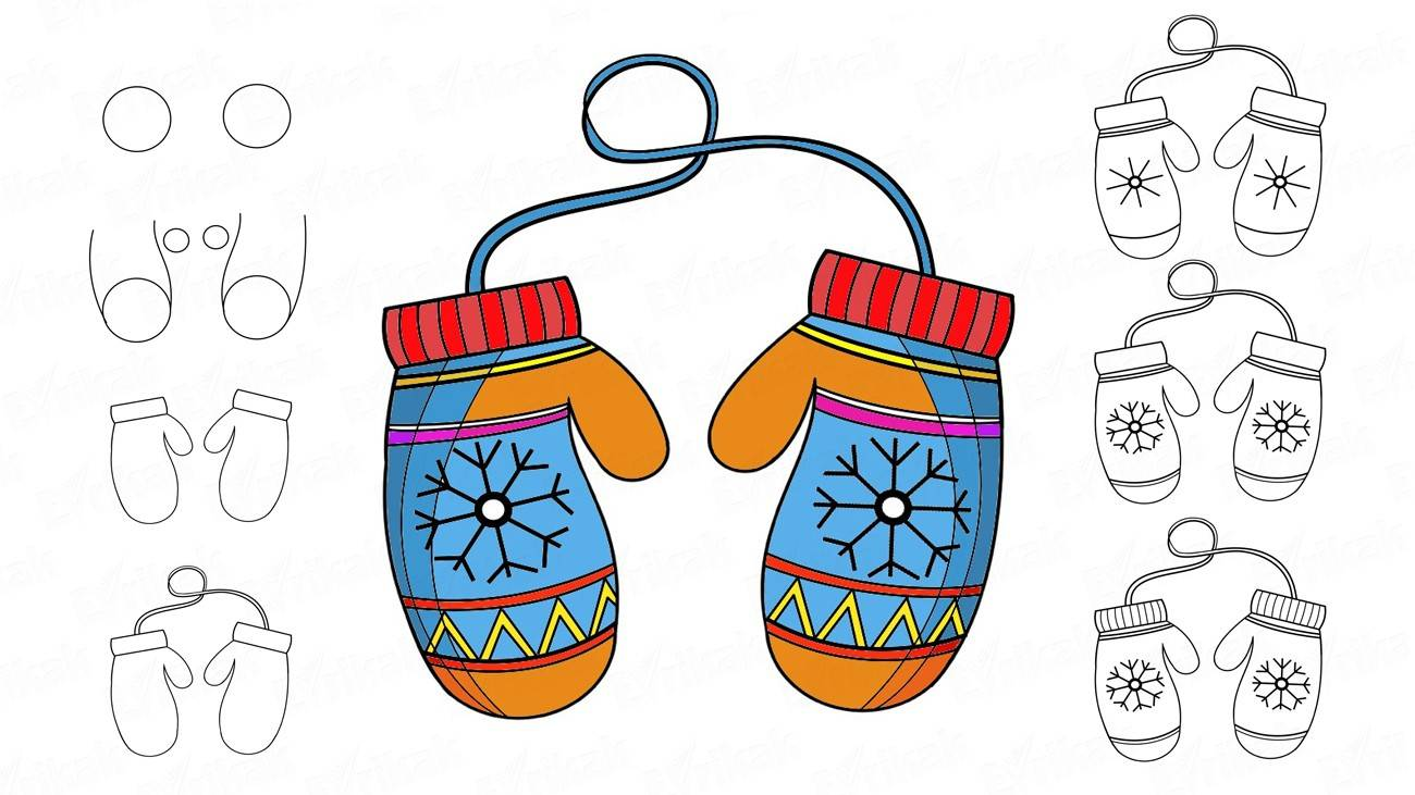 How to draw the winter mittens (+ coloring)