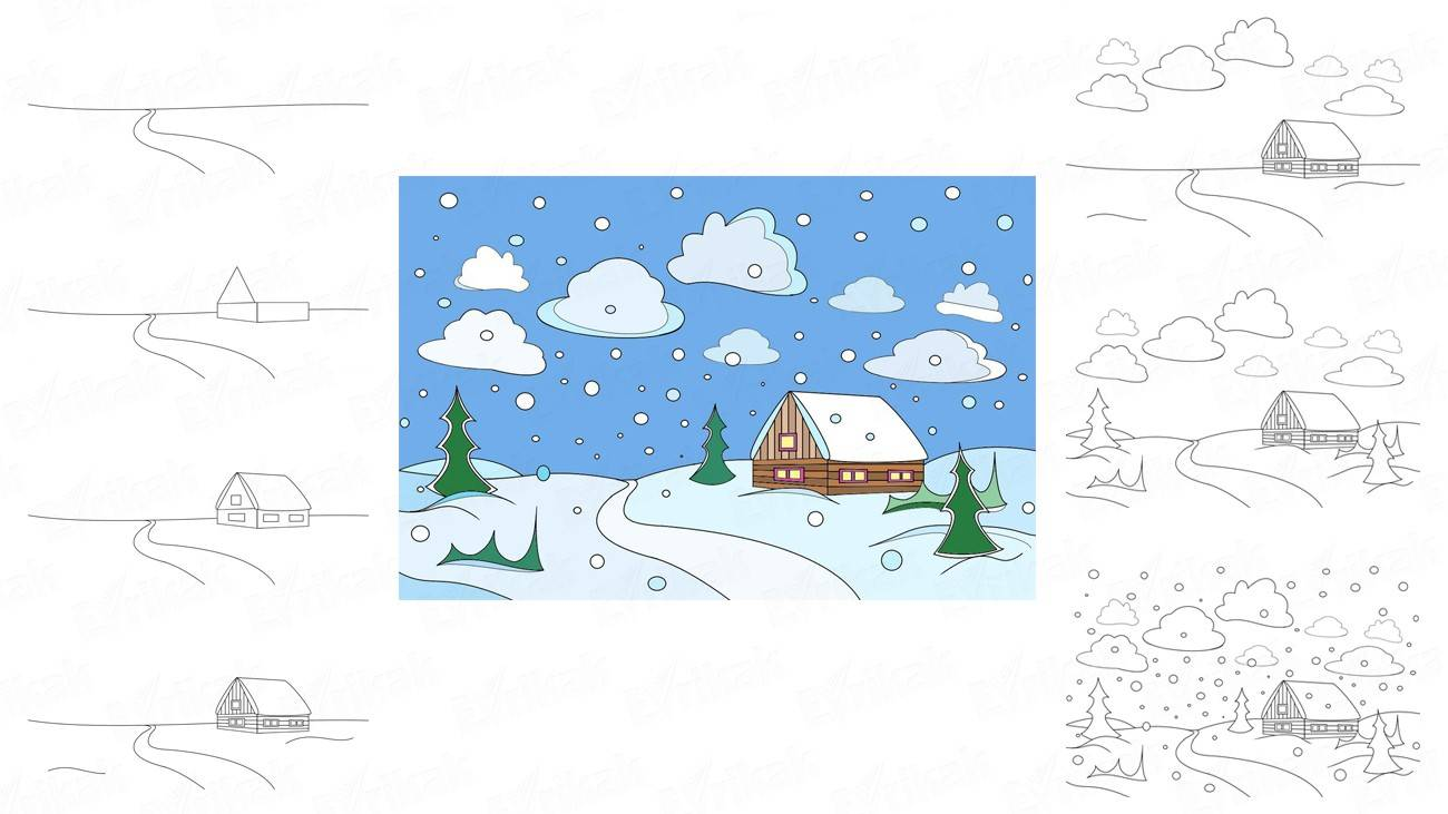How to draw a winter landscape (+ coloring)