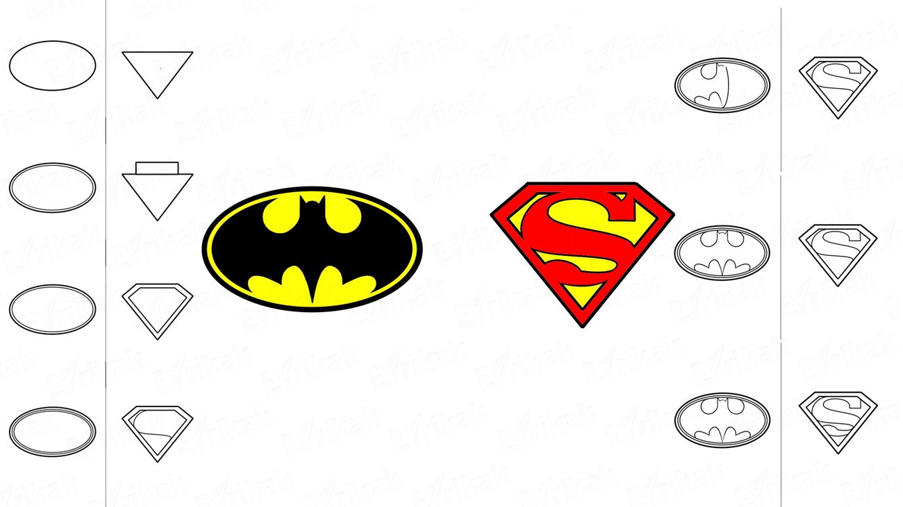 How to draw Batman's and Superman's badges (+ coloring)