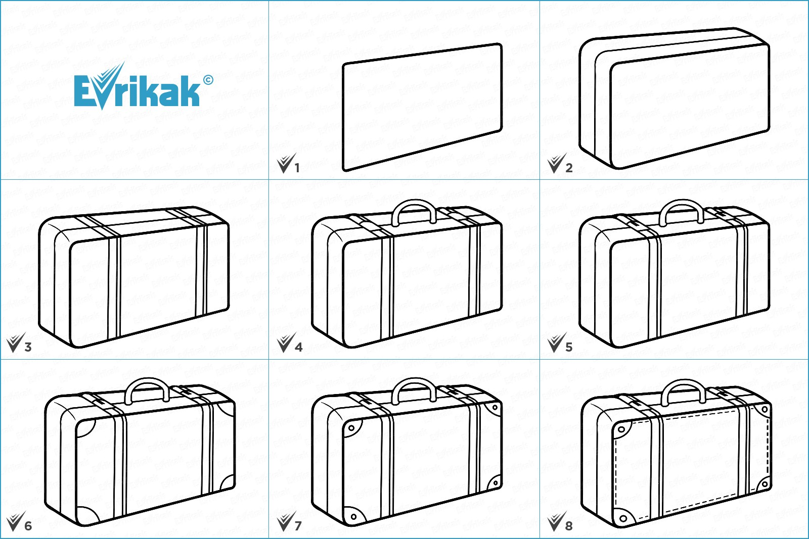 Collage of stages of a suitcase drawing