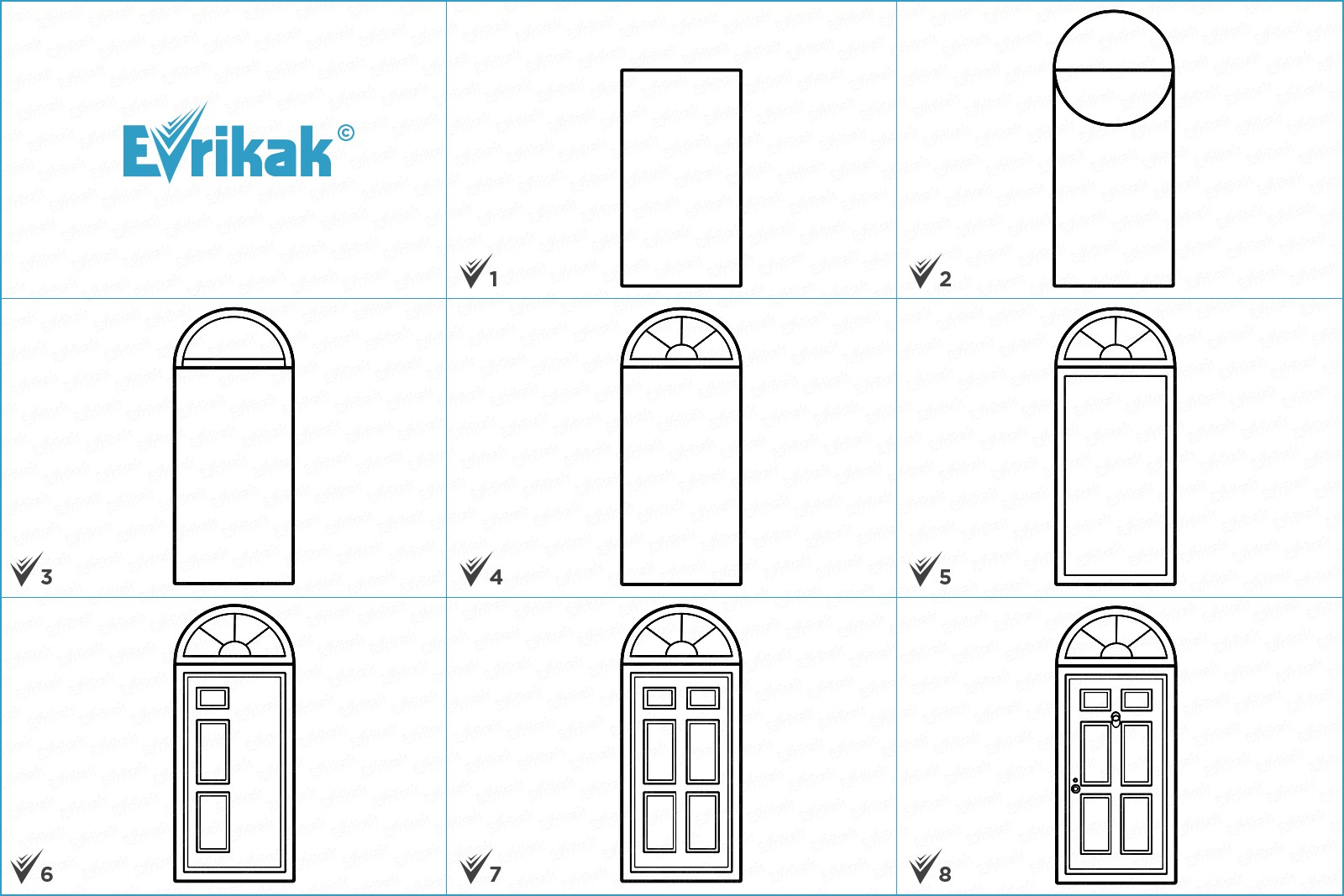 Collage of stages of the door drawing