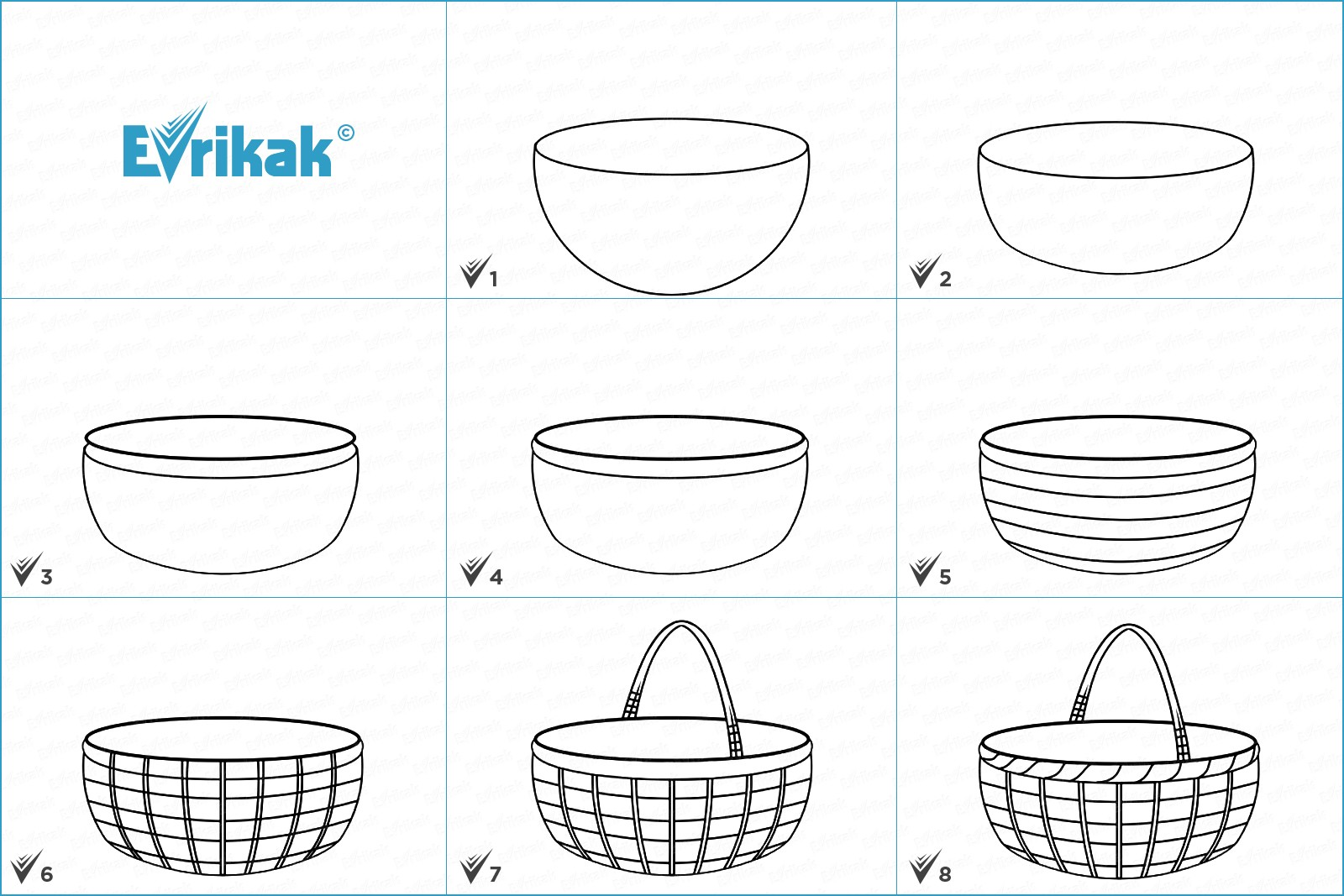 Collage of the stages of the basket drawing