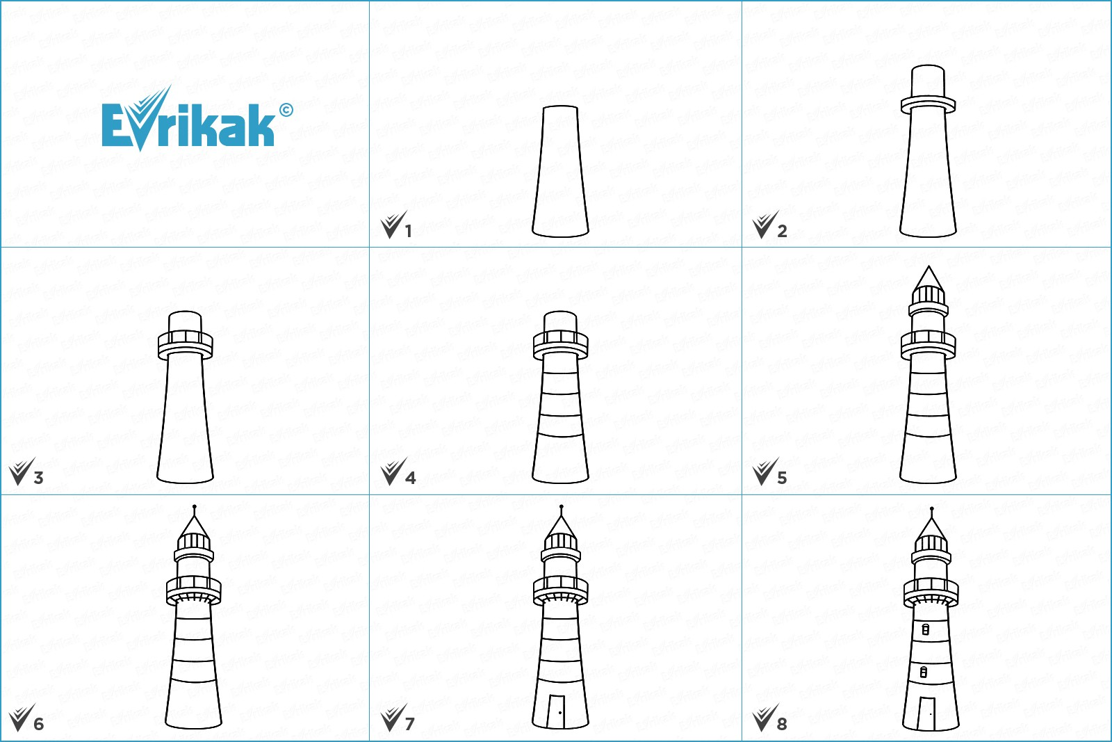 Collage How to draw a lighthouse step by step