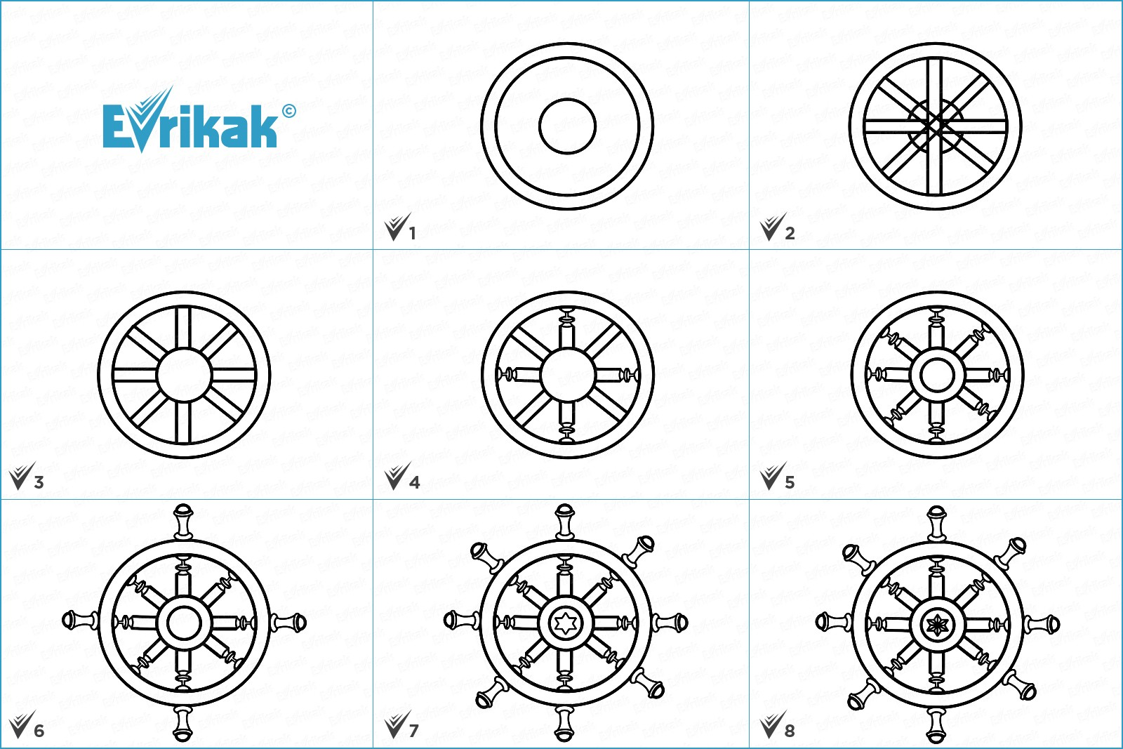 Collage of the stages of the ship's wheel drawing