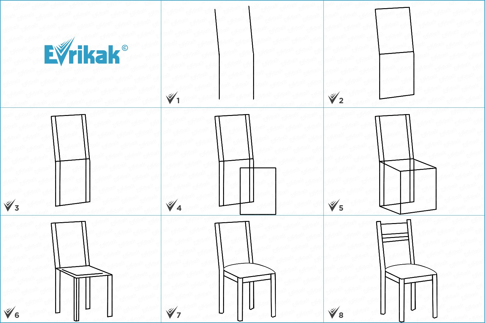 Collage of the stages of the chair drawing