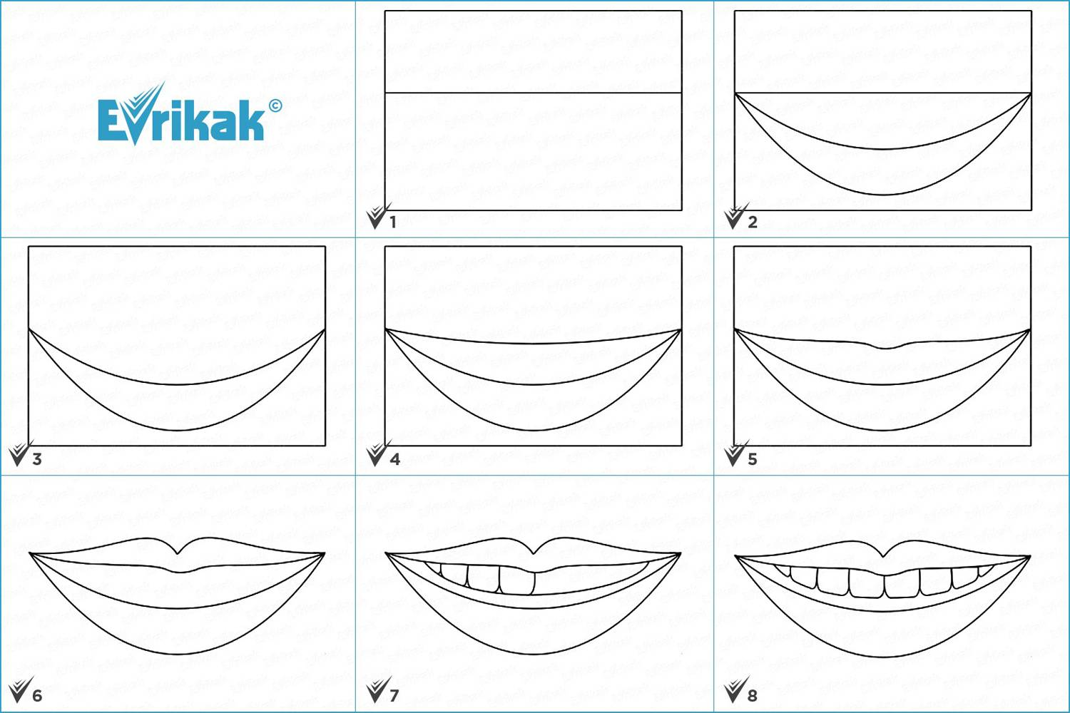 Collage of the stages of a smile drawing