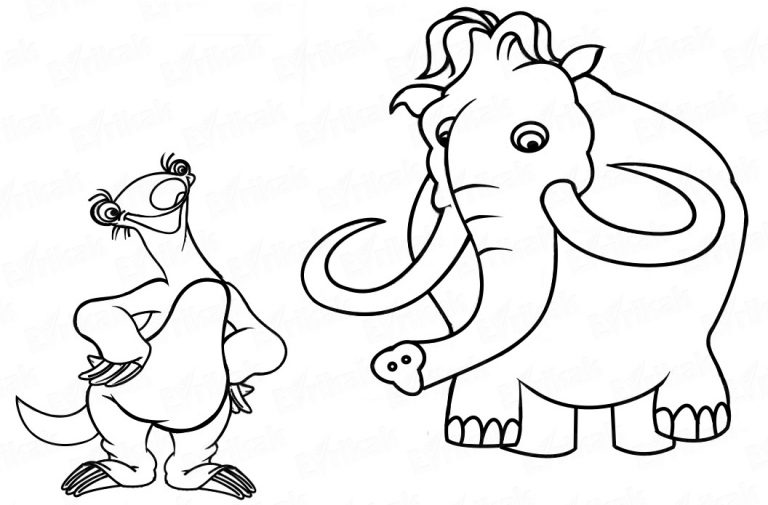 How To Draw Sid And Manny From The Animated Cartoon Ice Age