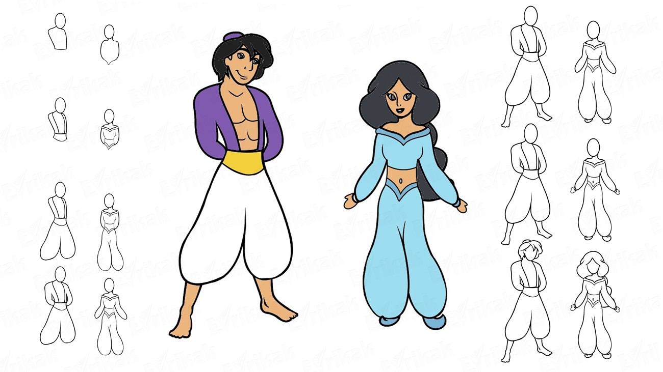 Learn to draw Aladdin and Princess Jasmine from the cartoon (+ coloring)