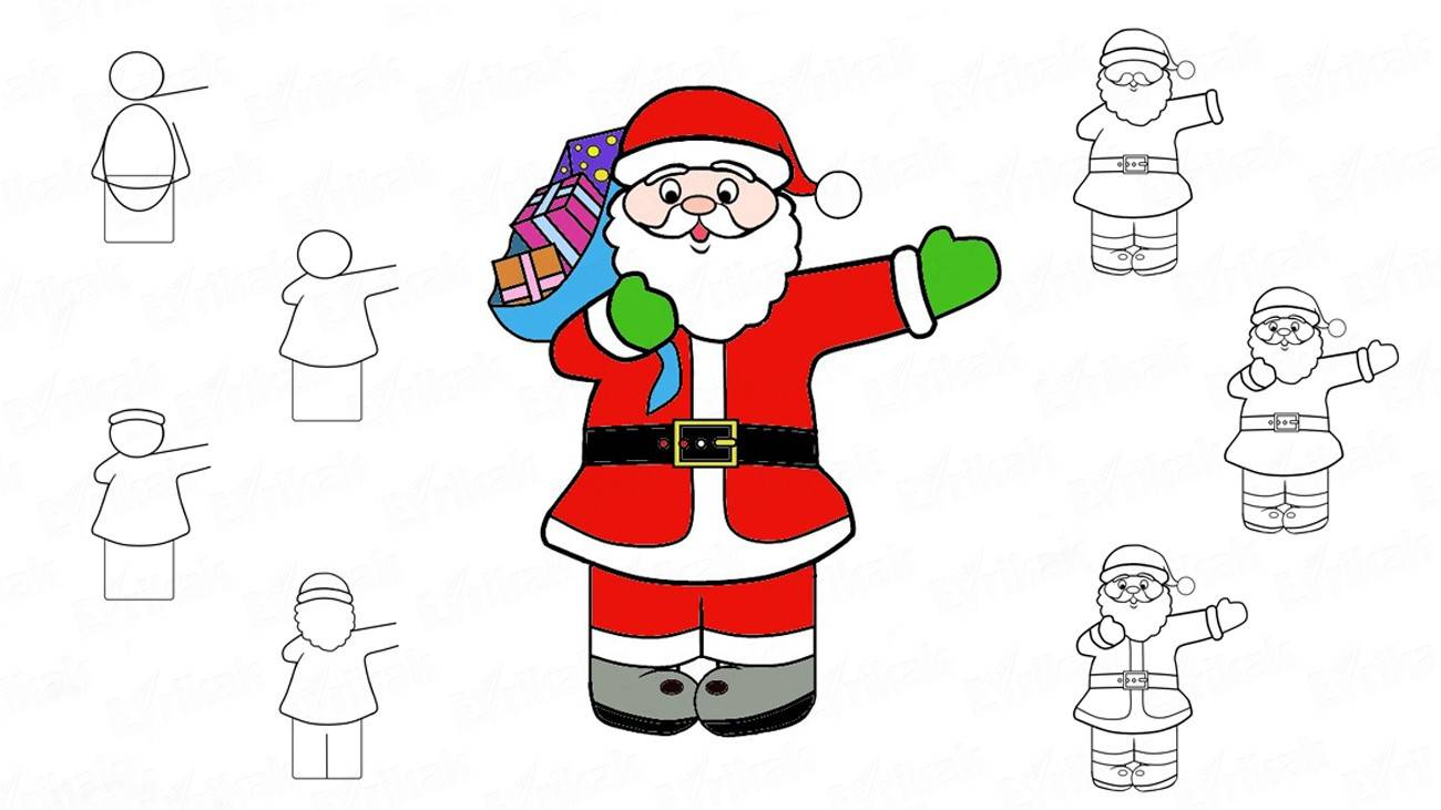 How to draw Santa with gifts step by step (+ coloring)