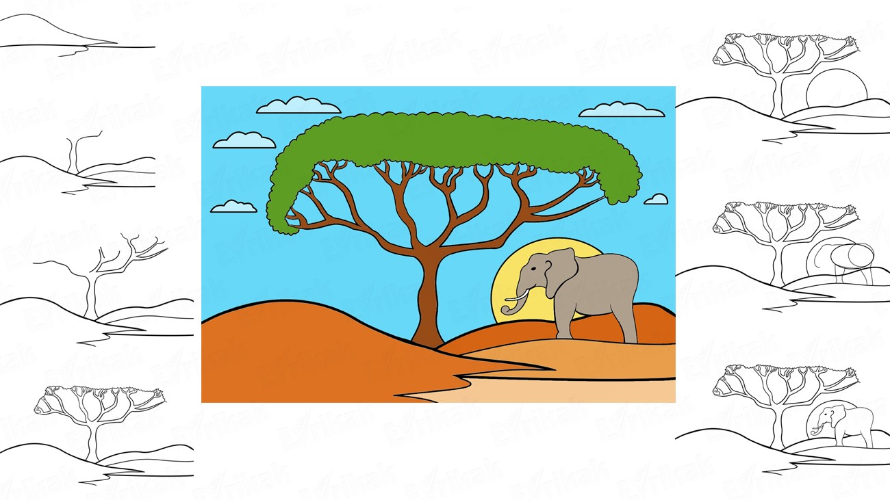 How to draw African Savannah (+ coloring)