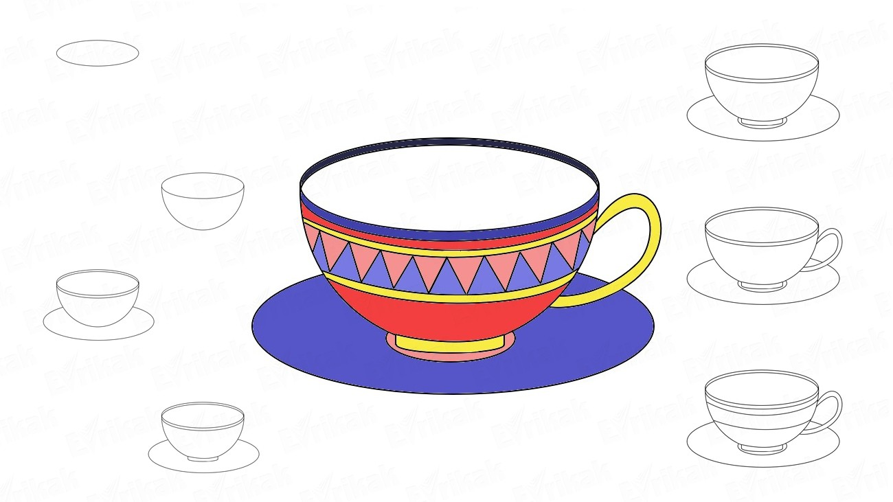 How to draw a cup and a saucer (+ coloring)