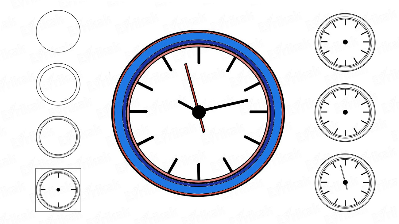 How to draw a wall clock (+ coloring)