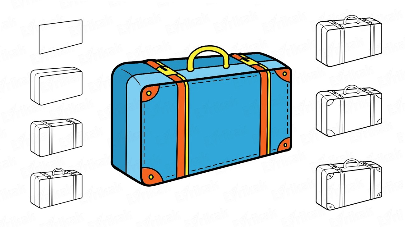 How to draw a suitcase: step by step instruction (+ coloring)