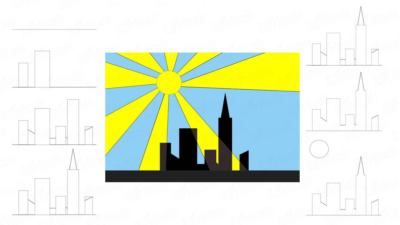 How to draw the sunrise over the skyscrapers step by step (+ coloring)