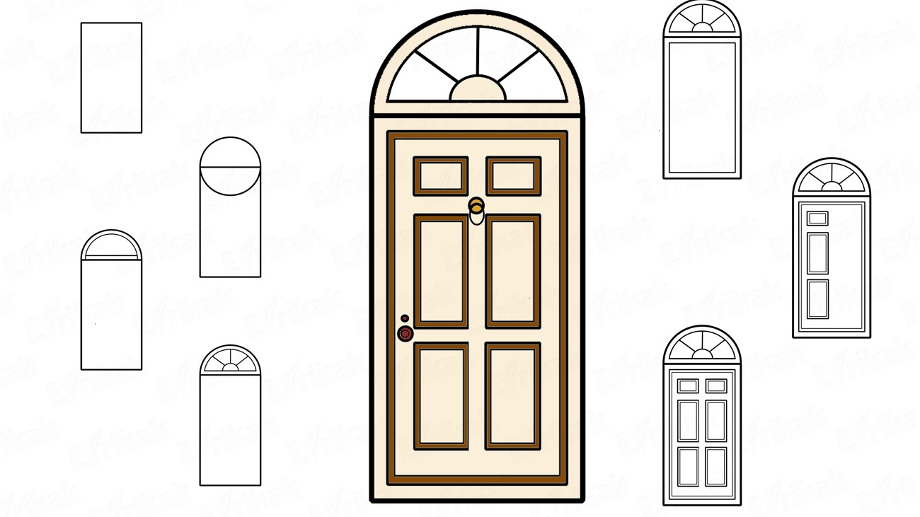 How to draw a front door step by step instruction (+ coloring)