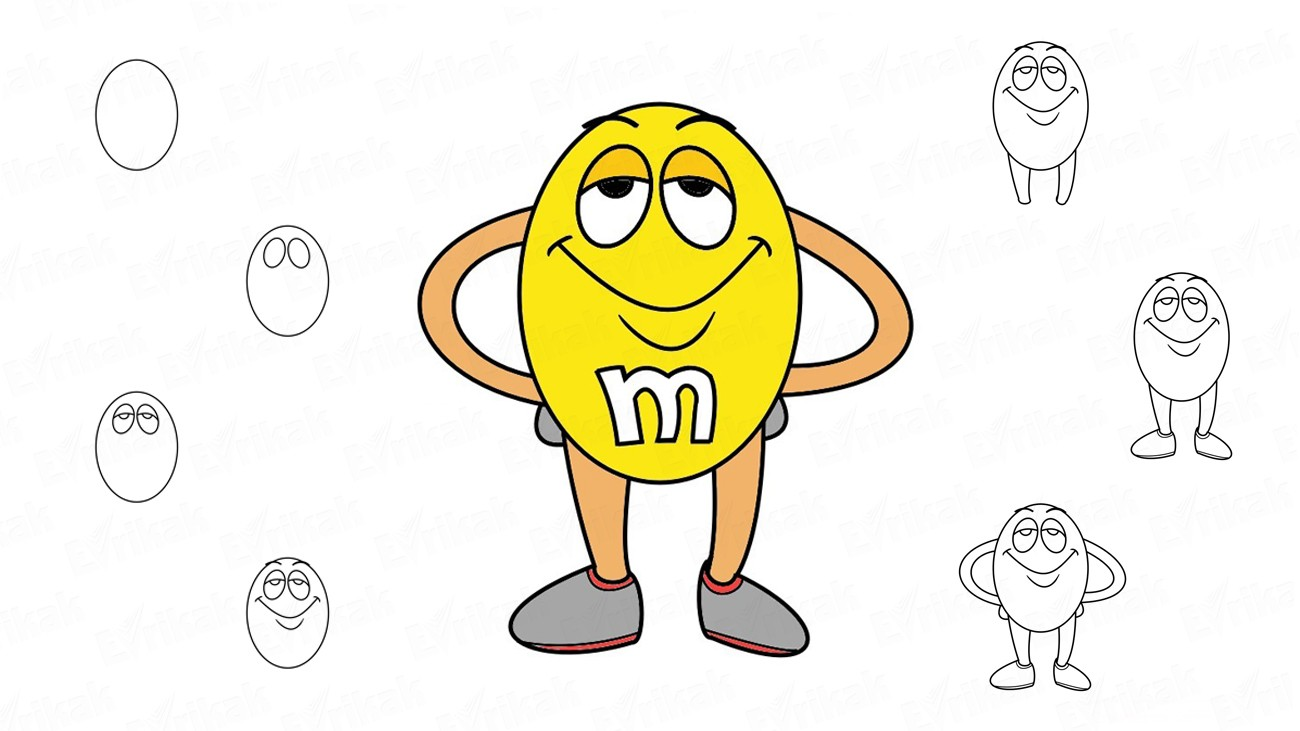 How to draw dragee M&M's step by step