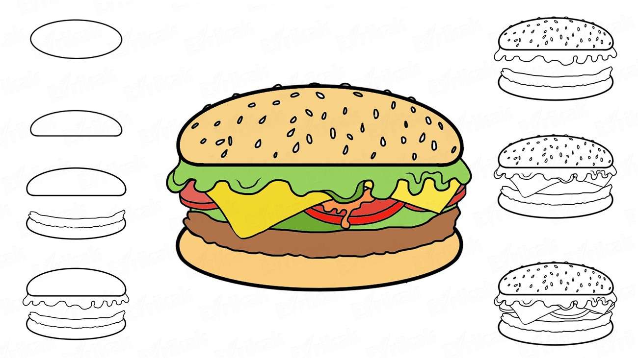 How to draw a hamburger: step by step instruction (+coloring)