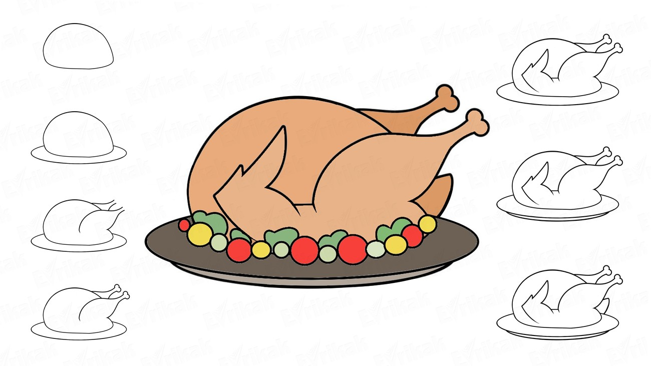 How to draw a turkey baked with vegetables (+ coloring)