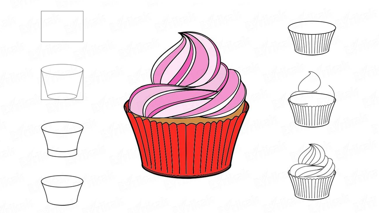 How to draw a muffin with the cream (+ coloring)