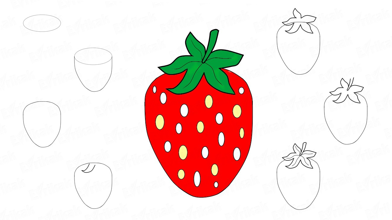 How to draw a strawberry step by step (+ coloring)