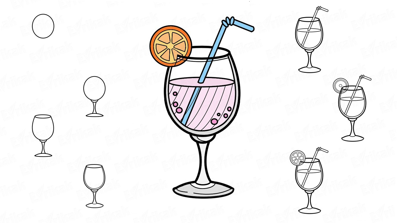 How to draw the cocktail with a lemon (+ coloring)