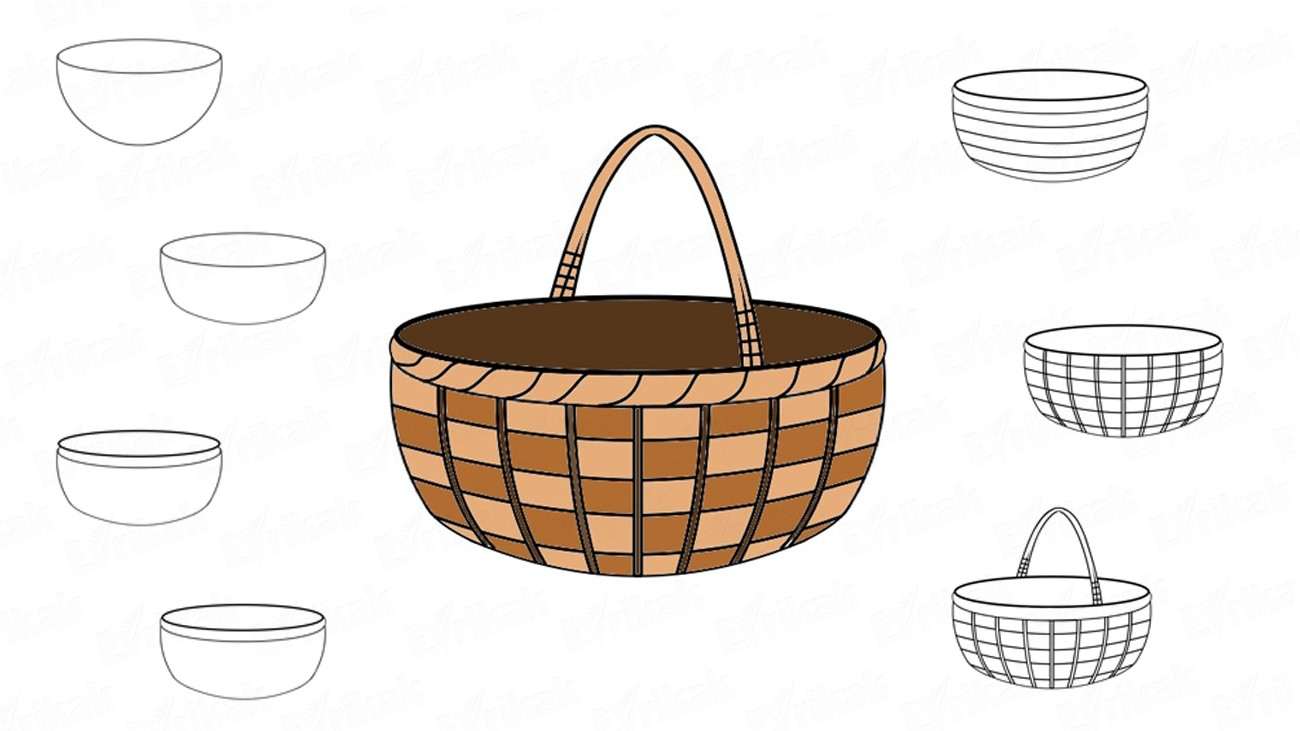 How to draw a wicker basket (+ coloring)