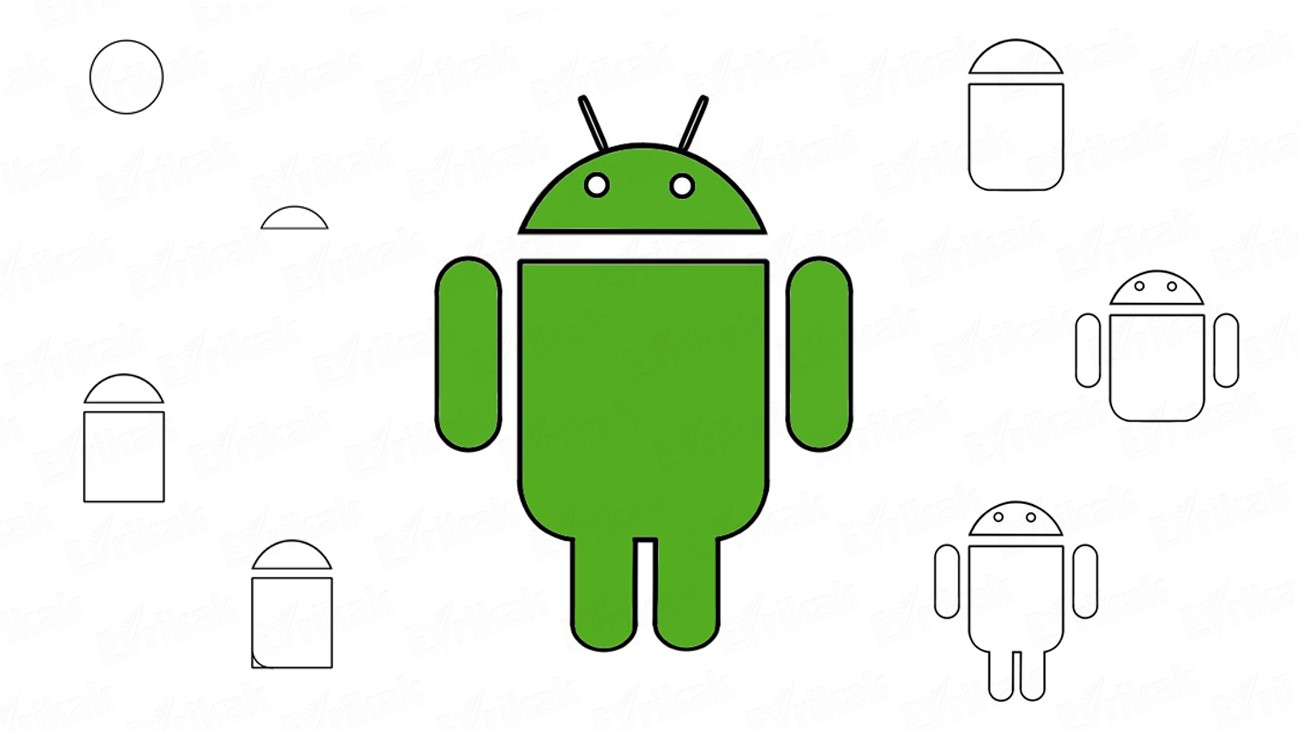 Steps of drawing of the green robot – Android logo (+ coloring)