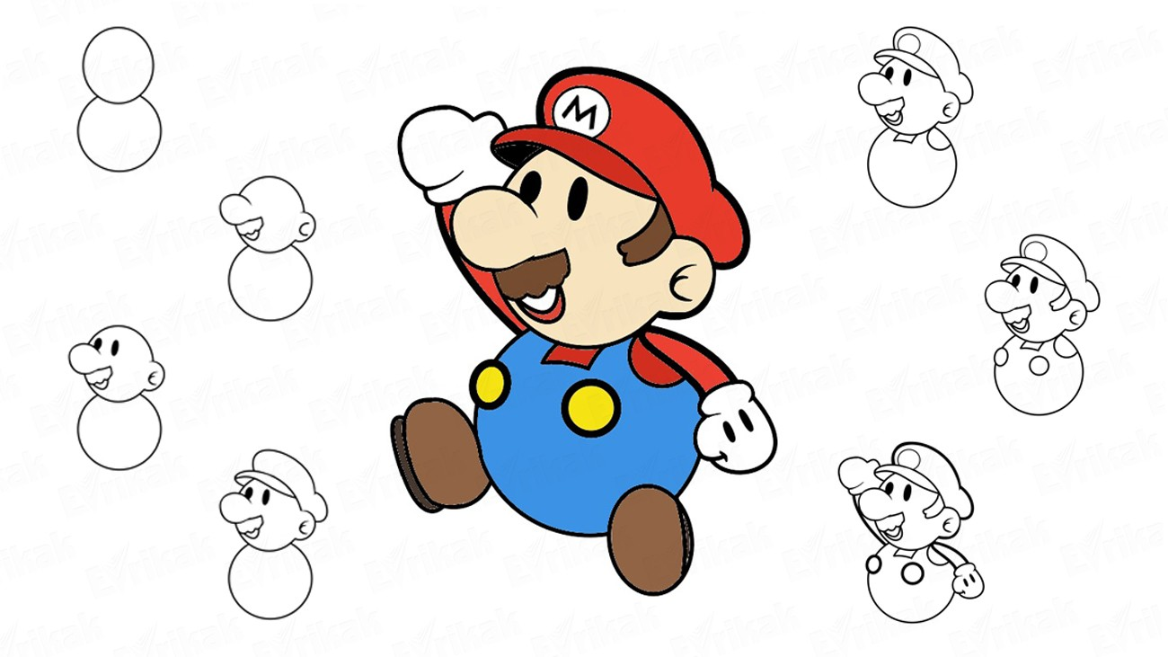 How to draw Mario from the video game (+ coloring)