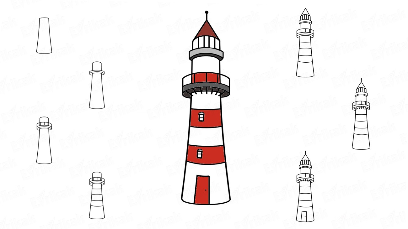 How to draw a lighthouse step by step (+ coloring)