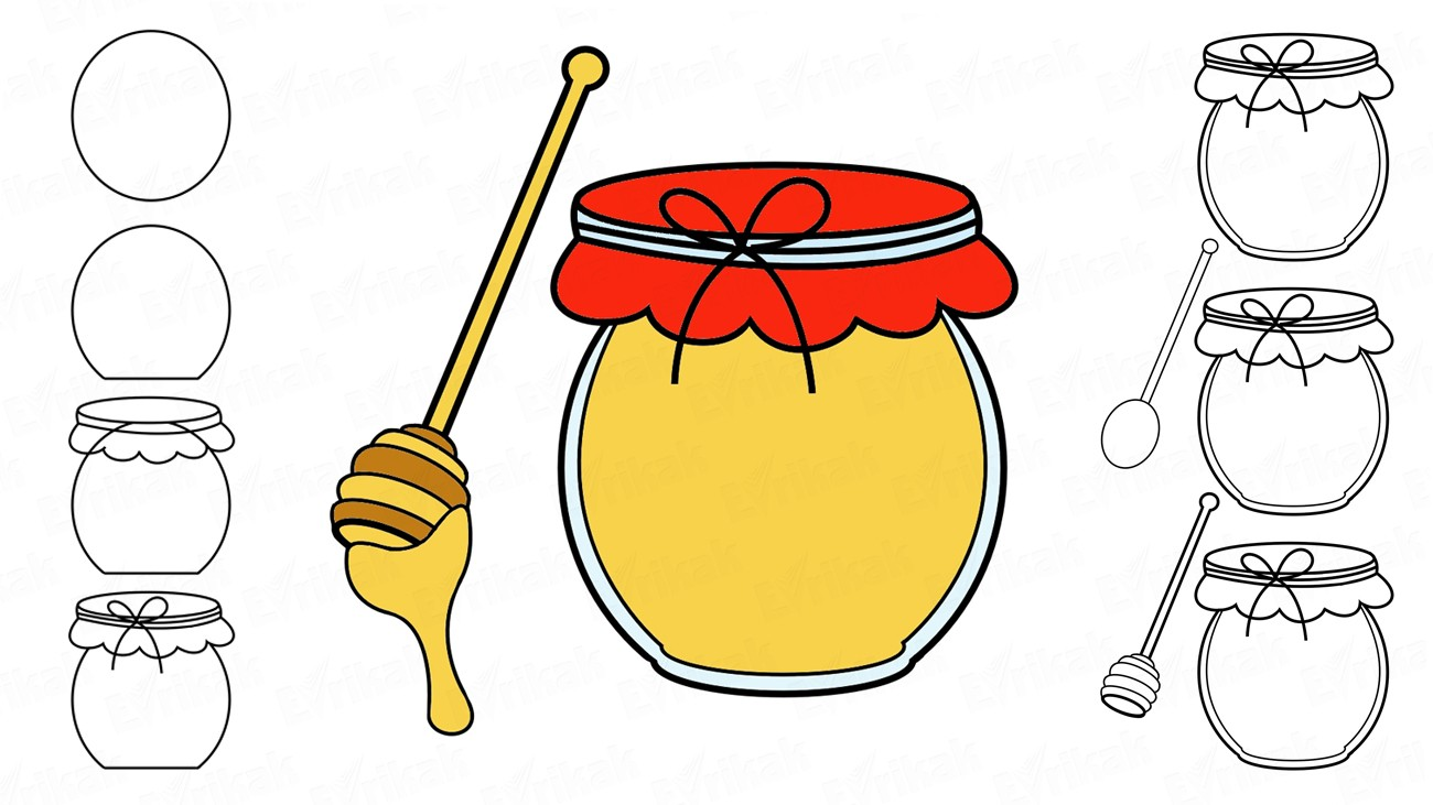 How to draw a honey pot (+ coloring)