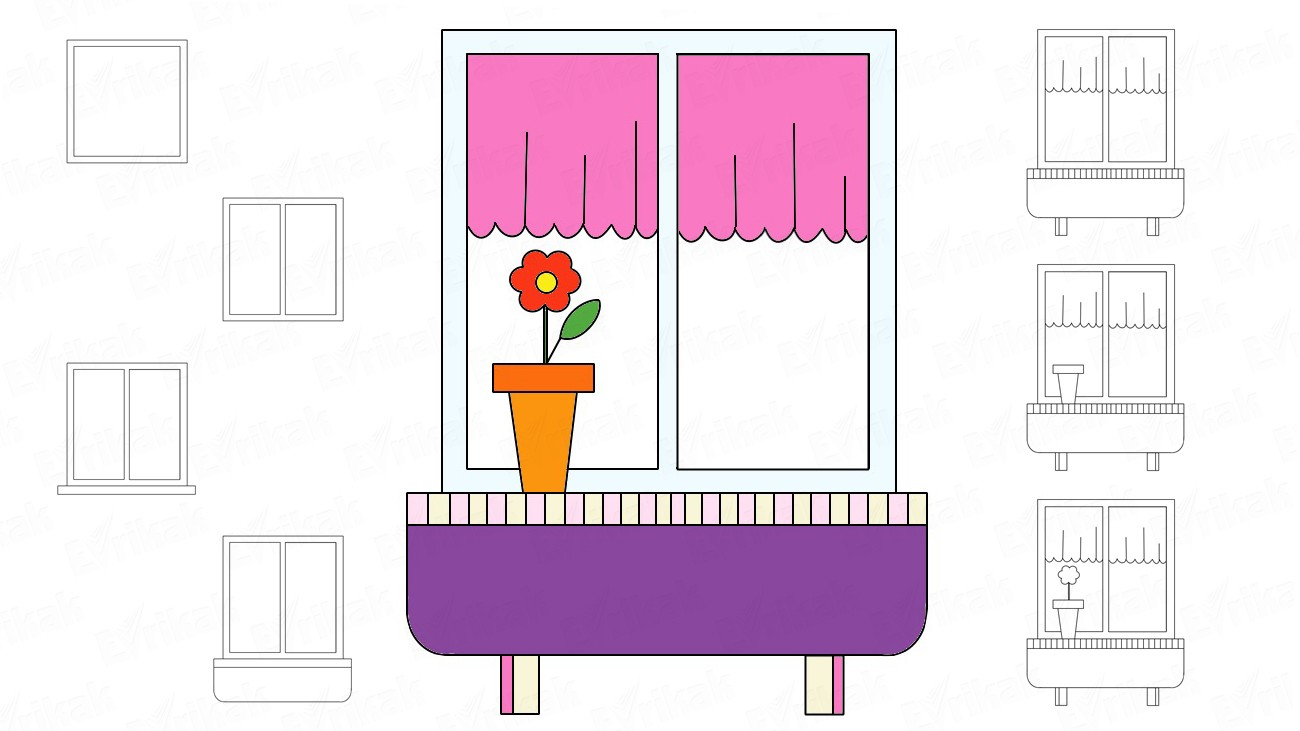 How to draw a window, a window sill and a flower (+ coloring)
