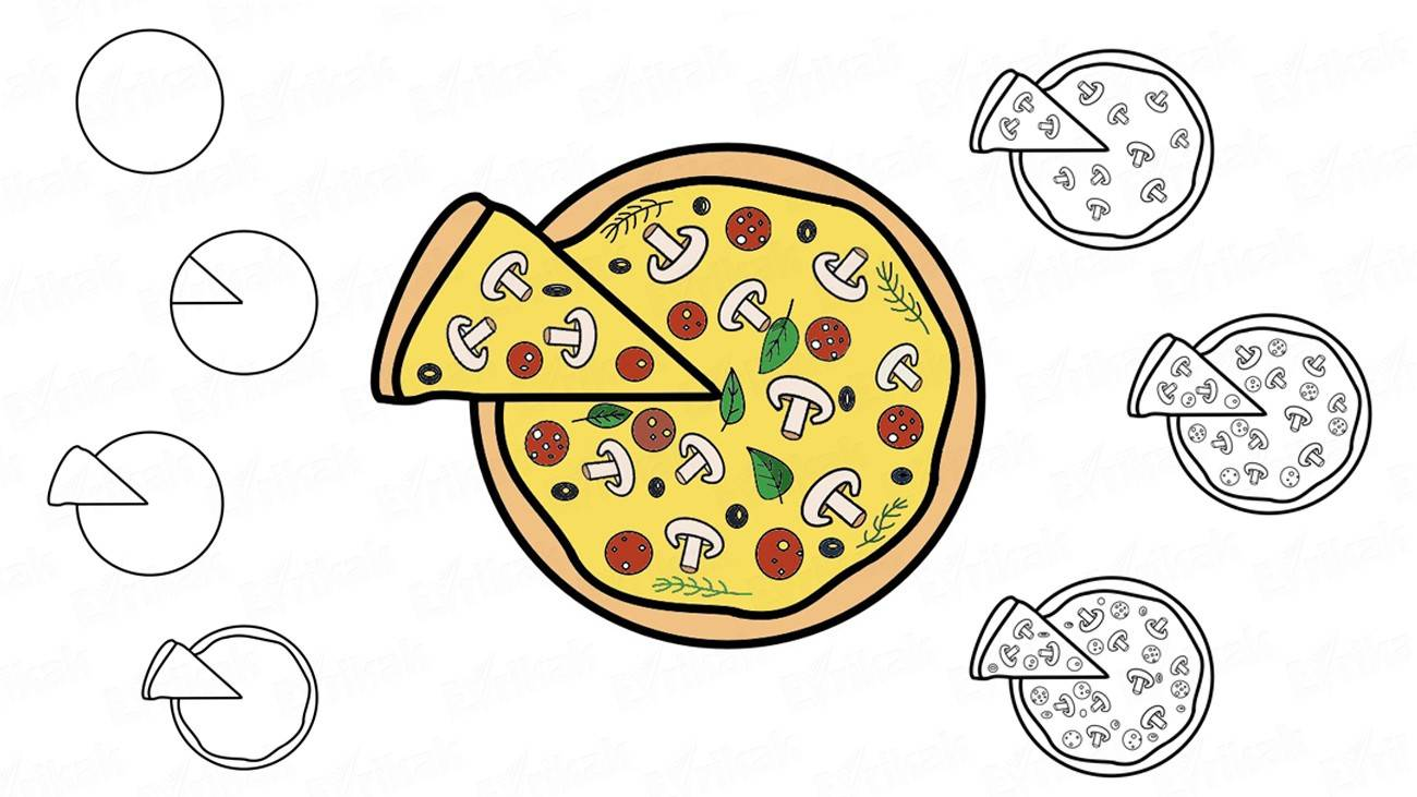 How to draw pizza (+coloring)