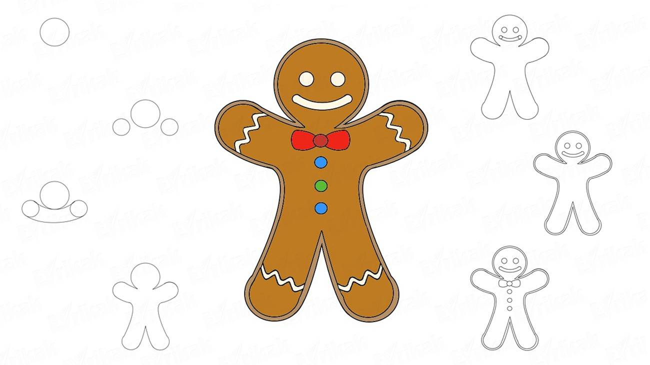 "How to draw a Gingerbread man from ""Shrek"" (+ coloring)"