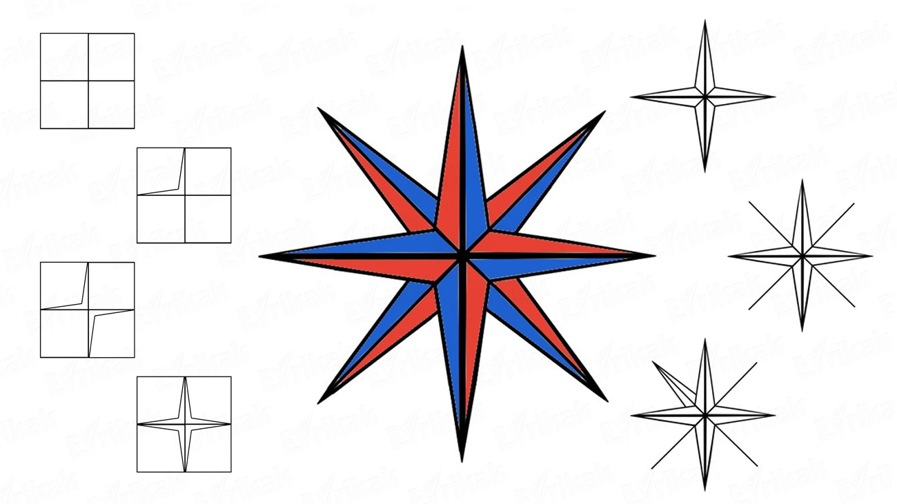 How to draw a wind rose step by step