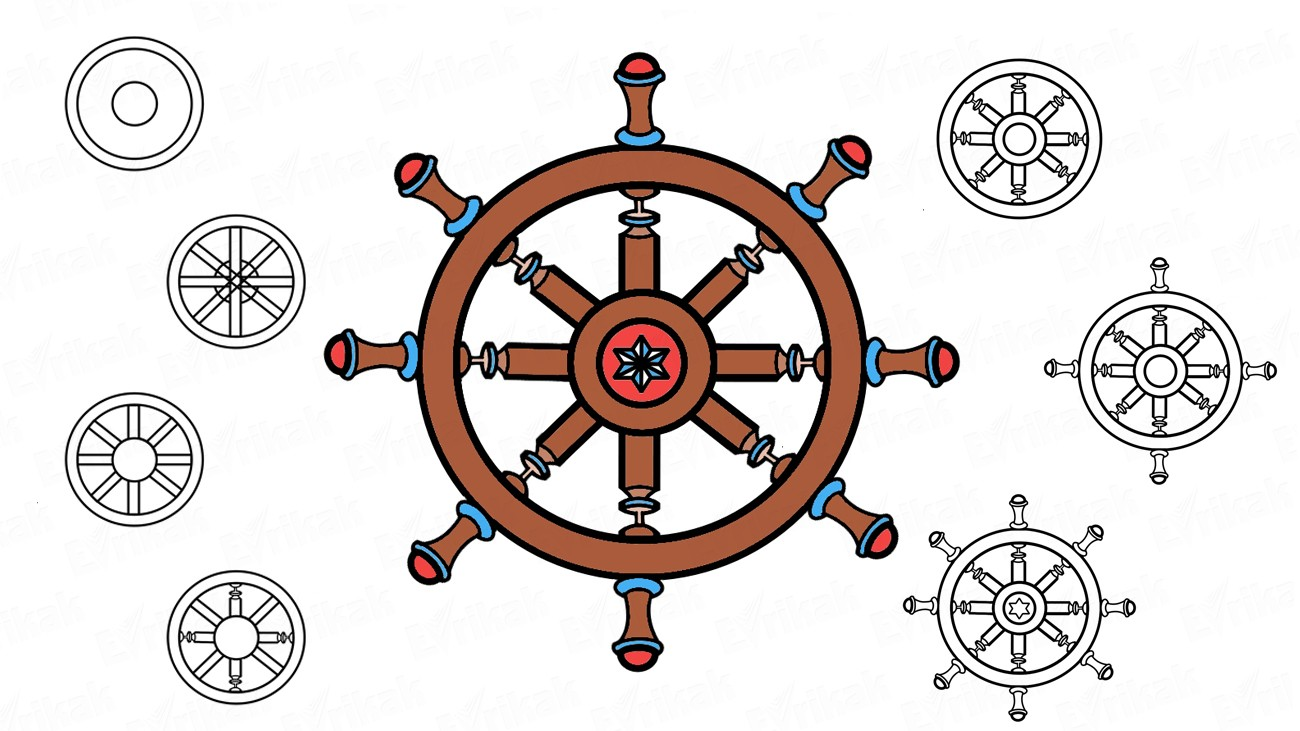 How to draw a ship's wheel (+ coloring)