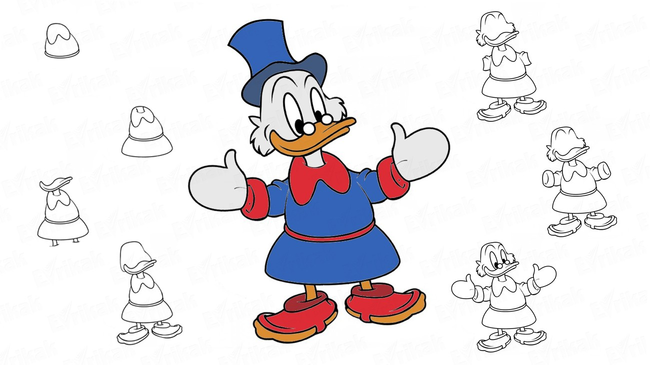 "Learn to draw Scrooge McDuck from the cartoon ""Duck tales"" (+ coloring)"